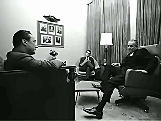 Writer Stewart Alsop with LBJ