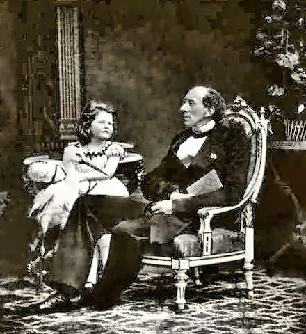 Writer Hans Christian Andersen with a child