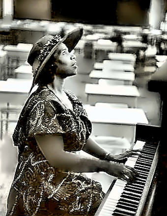 Singer Marian Anderson at piano