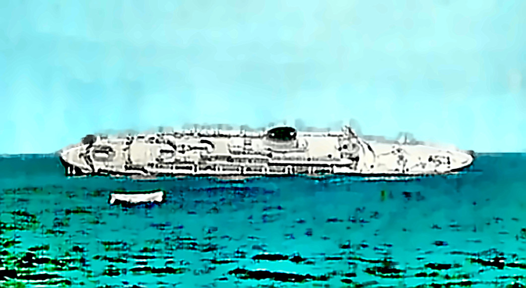 The Andrea Doria sinking after collision with Stockholm
