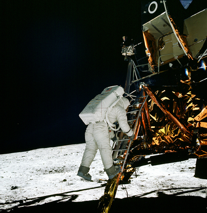 Neil Armstrong taking man's first Moon-step