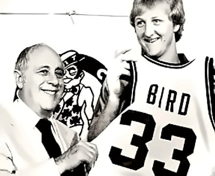Coach Red Auerbach with Larry Bird