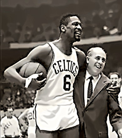 Coach Red Auerbach with Wilt Chamberlain