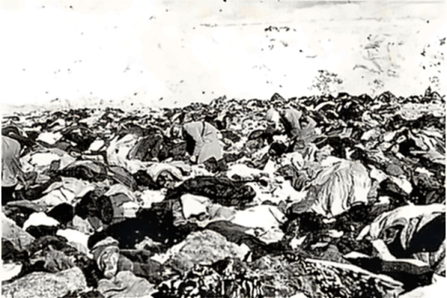 Babi Yar - victims clothing by mass grave