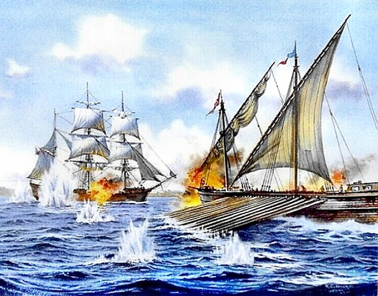 Barbary Pirate galleon & US Frigate