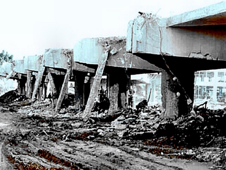 The Beirut US Marine Corps Barracks after 1983 terrorist bombing in which 241 die