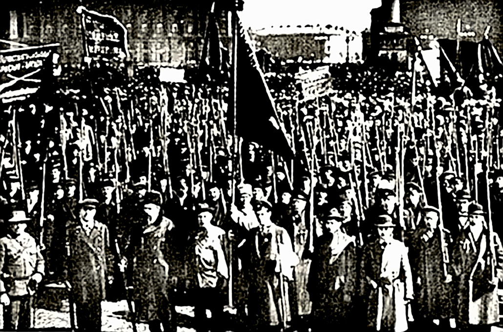Bolsheviks in front of the Winter Palace