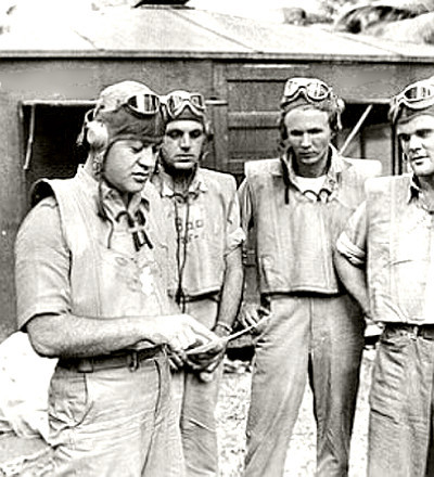Pappy Boyington with his pilots