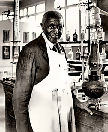 George Washington Carver in the lab