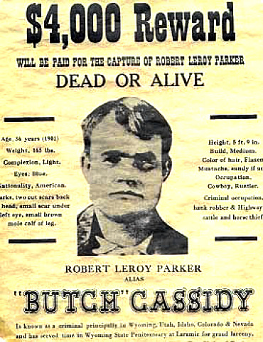 Reward Poster for Outlaw Butch Cassidy
