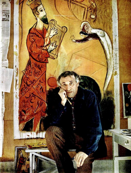 Painter Marc Chagall with his Song of David