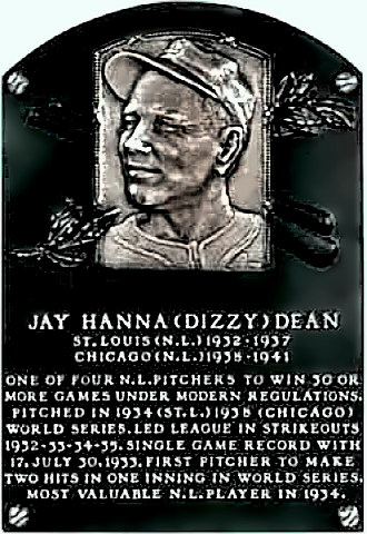 Dizzy Dean Hall of Fame Plaque