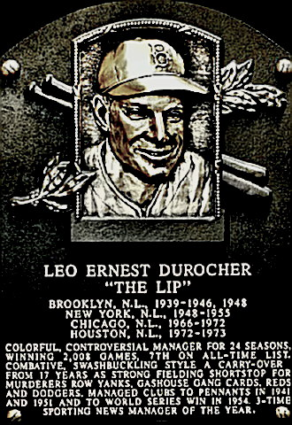 Manager Leo Durocher Hall of Fame Plaque
