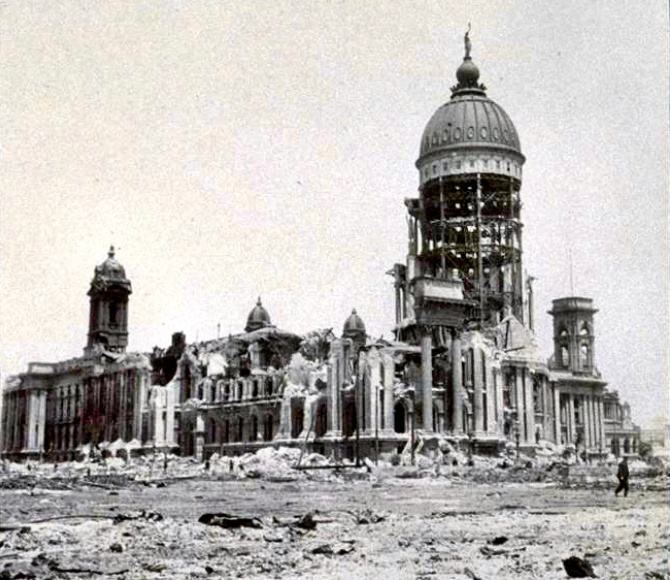 San Francisco Earthquake - 1906 City Hall damage