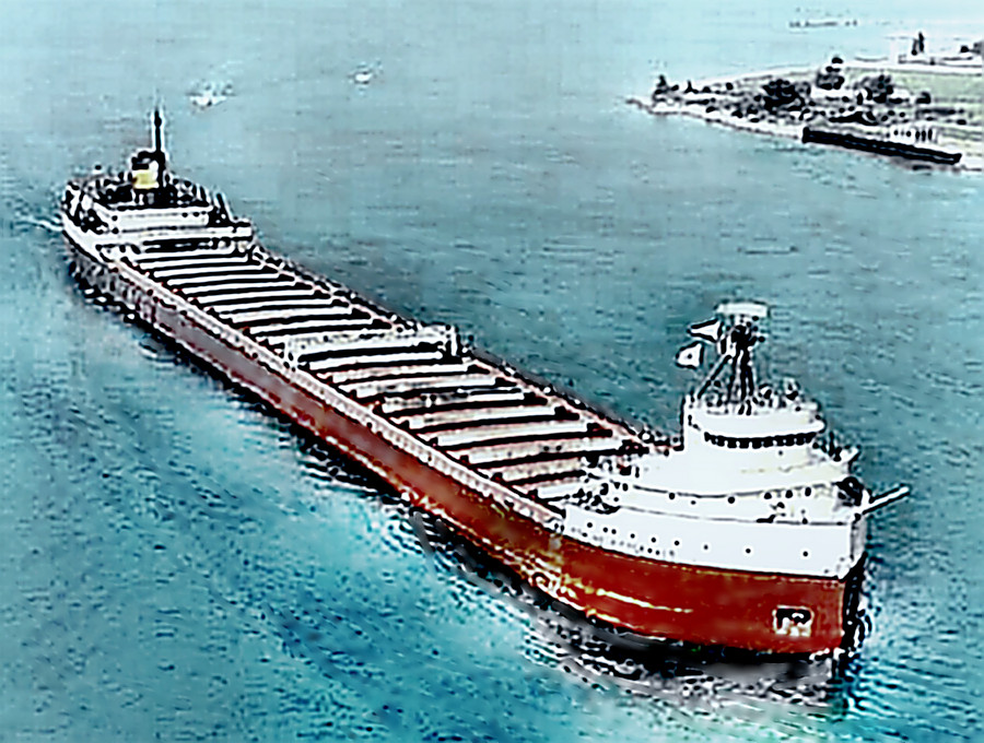 The Edmund Fitzgerald entering port