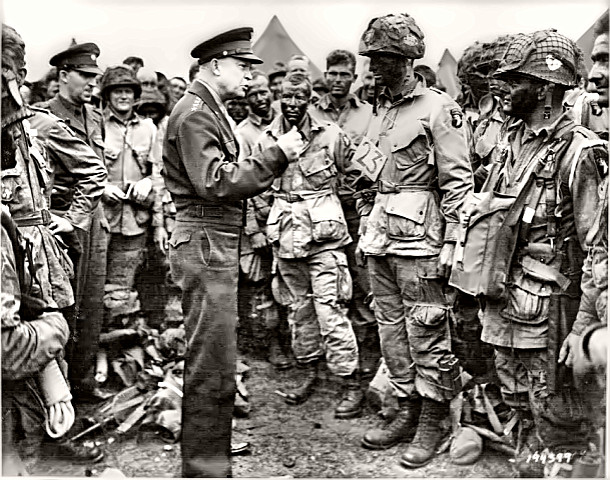 General Dwight Eisenhower with paratroopers 1944