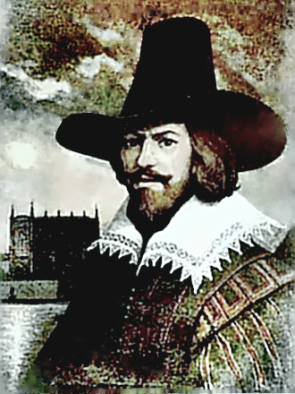 Painting of Guy Fawkes with House of Lords in background