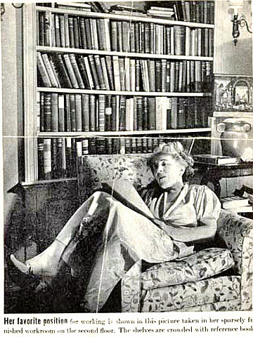 Writer Edna Ferber working at home