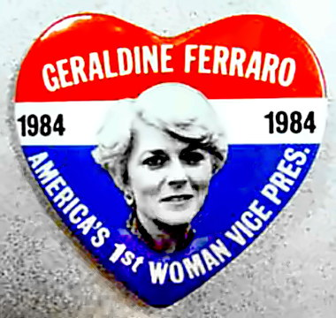 Geraldine Ferraro for VP campaign button