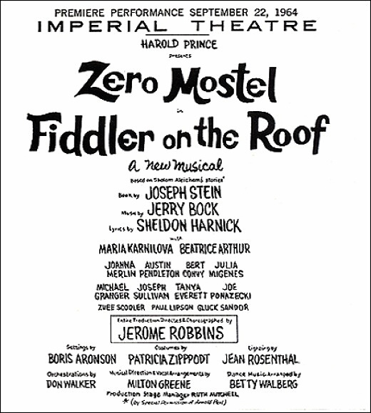 Fiddler on the Roof playbill