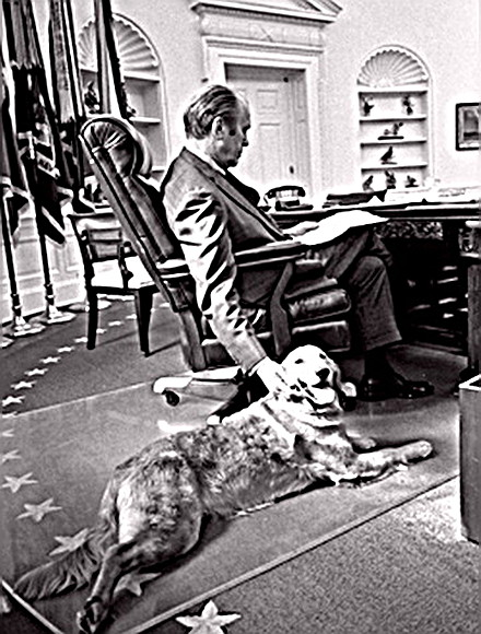 President Ford with his dog