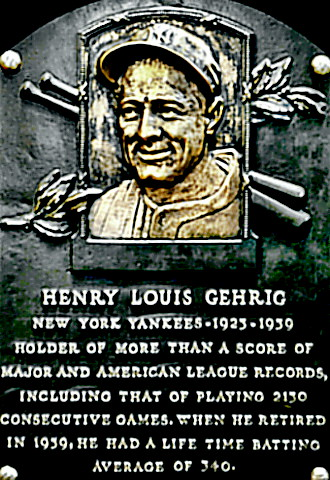 Lou Gehrig Hall of Fame plaque