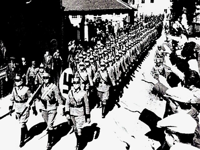 German troops marching into Austria