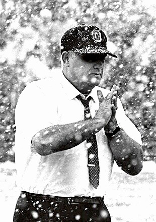 Coach Woody Hayes at work