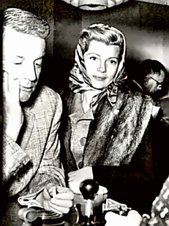 Producer James Hill with Rita Hayworth