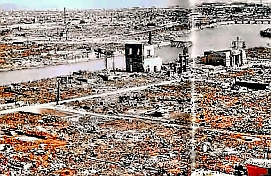 Hiroshima after the bomb showing widespread devastation