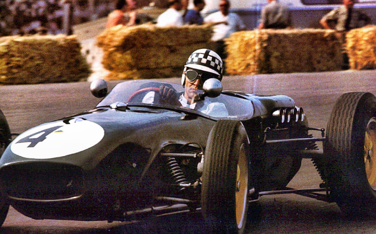 Driver Innes Ireland in a Lotus-18