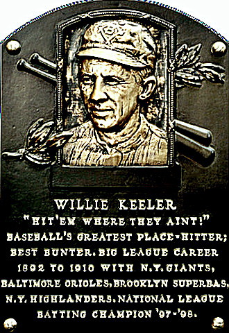 Wee Willie Keeler Hall of Fame plaque