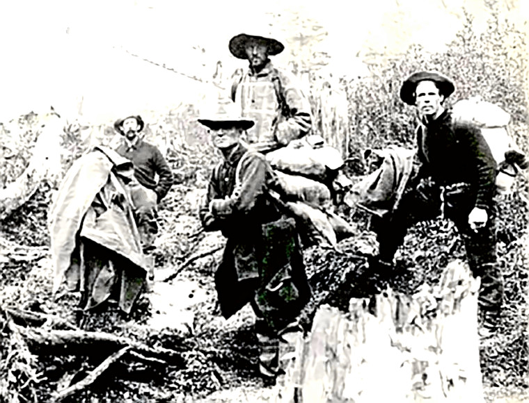 Klondike gold miners on the trail