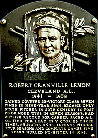 Bob Lemon Hall of Fame plaque