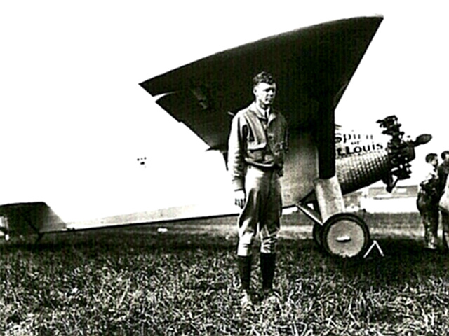 Charles Lindbergh with his plane