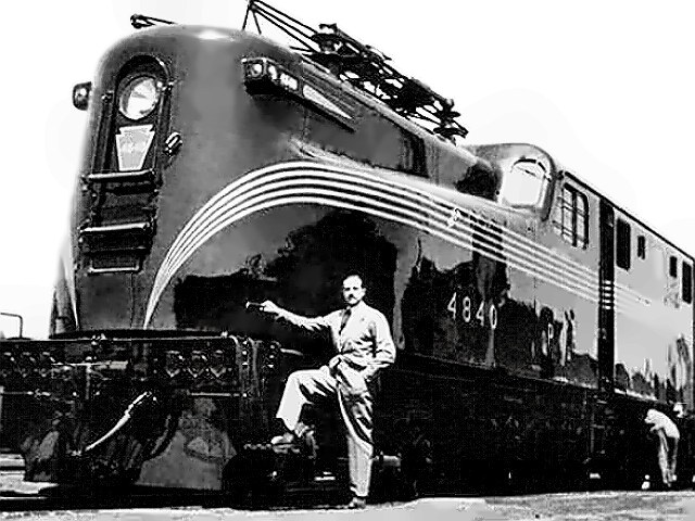 Designer Raymond Loewy with one of his works