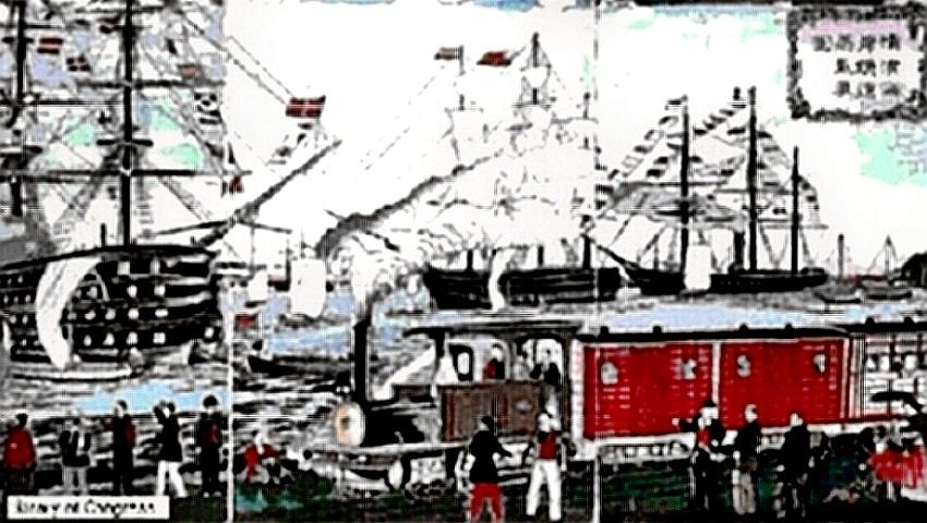 Meiji Restoration painting of ships in harbor