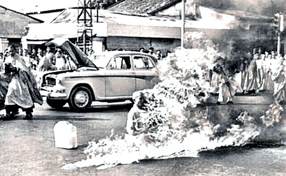 Quang Duc, Buddhist monk burns himself to death in public