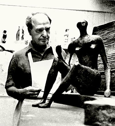 Sculptor Henry Moore at work