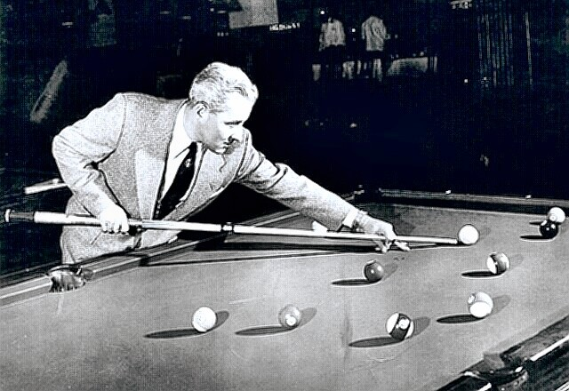 Pool & Billiards Champ Willie Mosconi at work