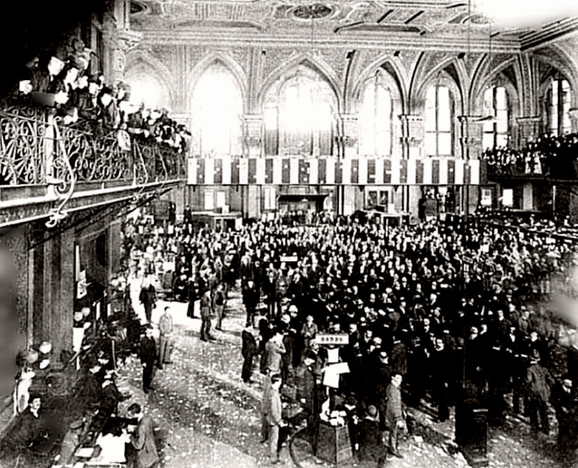 New York Stock Exchange trading floor 1889