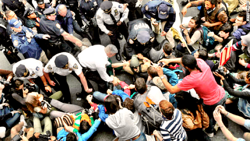 Occupy Wall Street protestors being arrested