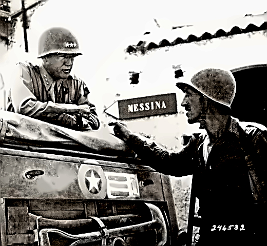 General George Patton at Brolo in 1943