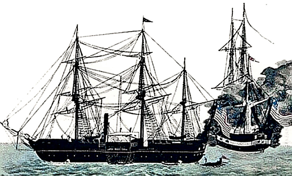 Commodore Perry's black ships in Japanese waters
