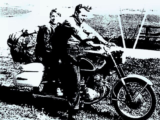 Robert Pirsig with his son during their cross-country motorcycle trip