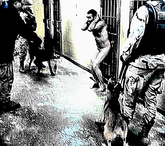 Iraqi prisoner at Abu Ghraib - Prisoner naked, dogs