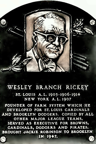 Branch Rickey's Hall of Fame plaque