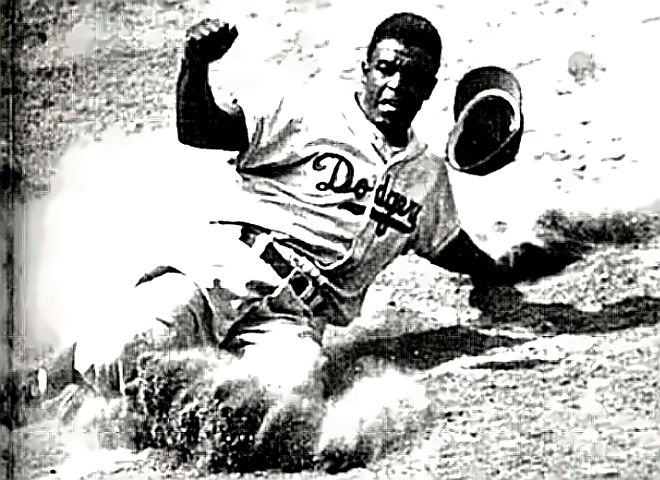 Jackie Robinson stealing home, again
