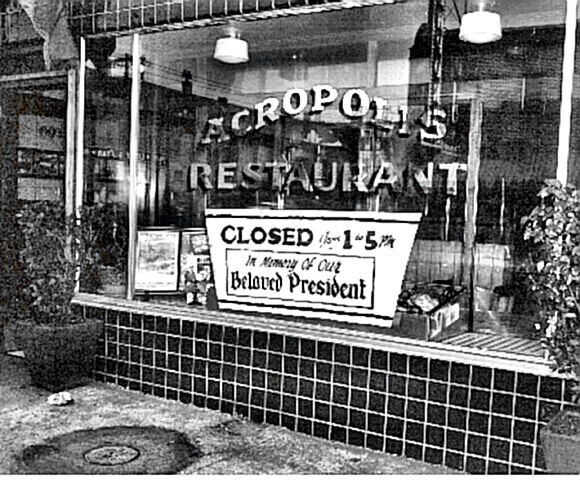 Restaurant closed in honor of President Roosevelt