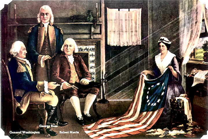 Betsy Ross presenting the flag